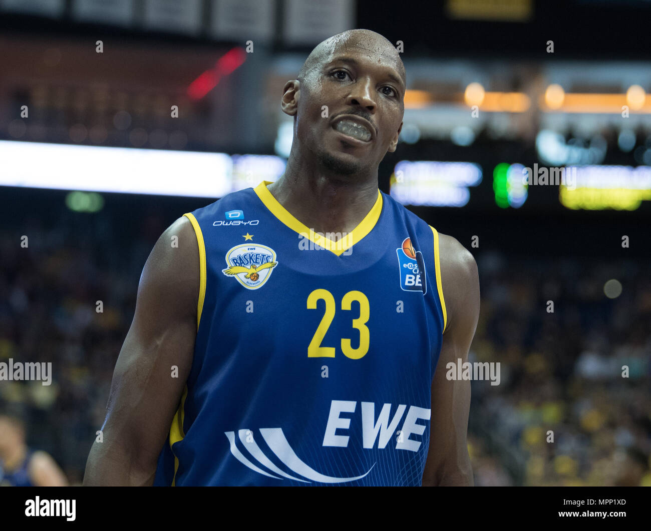 17 May 2018, Germany, Berlin: Bundesliga, quarter-final, ALBA Berlin vs. EWE Baskets Oldenburg in the Mercedes-Benz arena. Oldenburg's Rickey Paulding. Photo: Soeren Stache/dpa - Stock Image