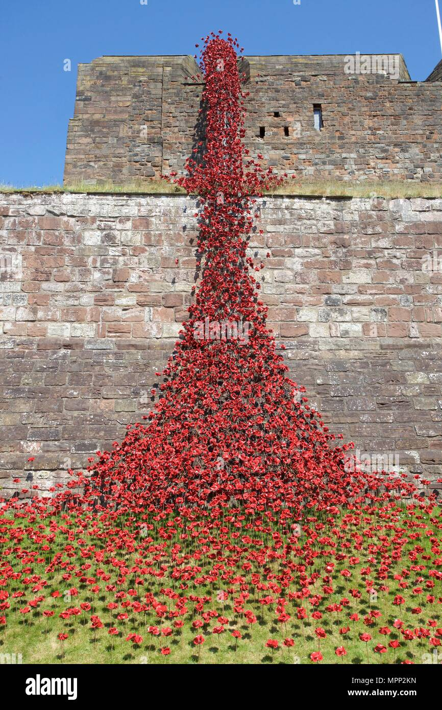 Carlisle Castle, Carlisle Cumbria, UK. 23rd, May, 2018. Weeping Window of  ceramic poppies art installation at Carlisle Castle. The project commemorates the First World War and is by artist Paul Cummins and designer Tom Piper. Part of Blood Swept Lands and Seas of Red installation. Credit: Andrew Findlay/Alamy Live News - Stock Image