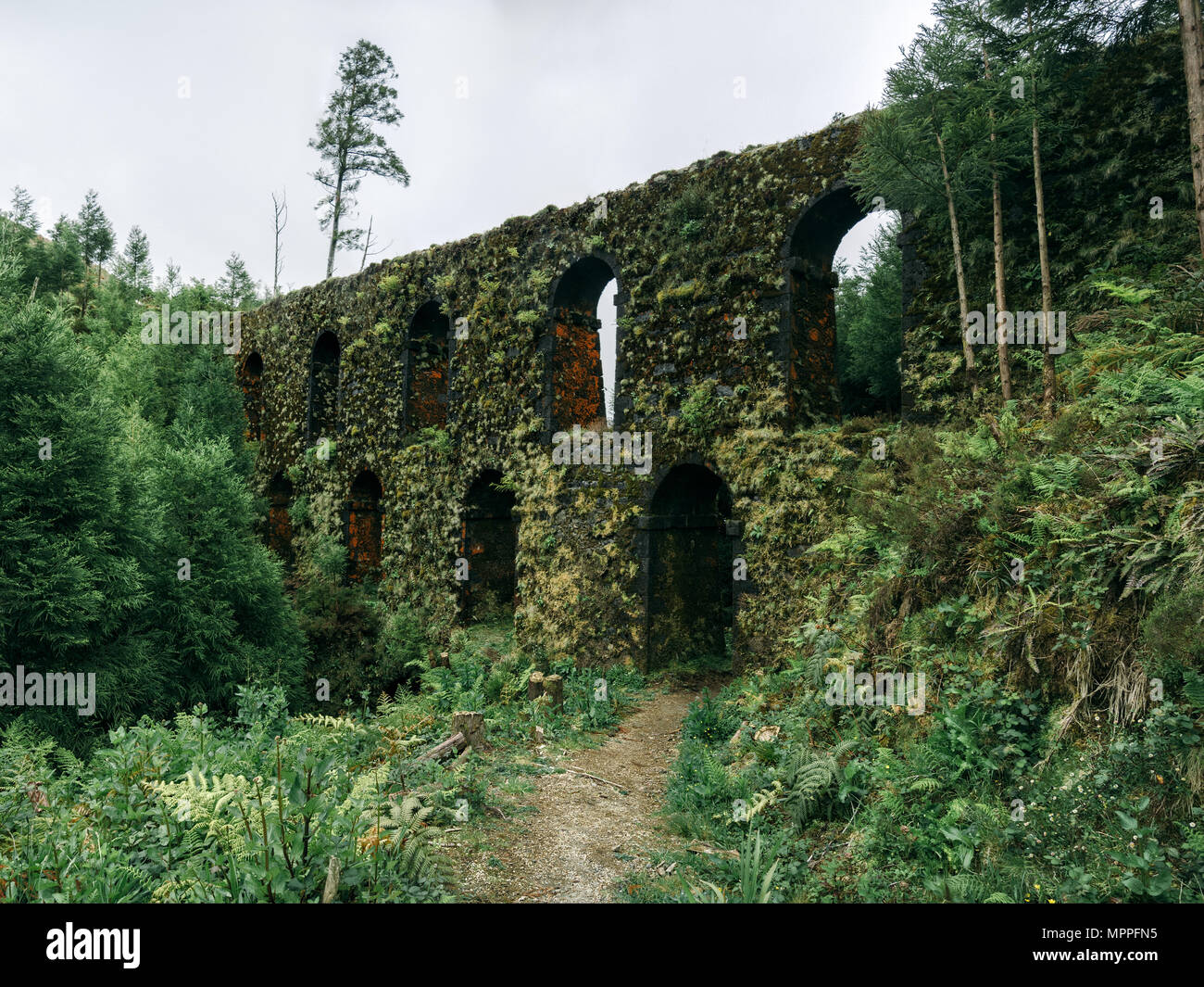 The 'Muro of the Nove Janelas' (Wall of the Nine Windows), the most famous part of the old aqueducts at São Miguel Island, Azores. - Stock Image