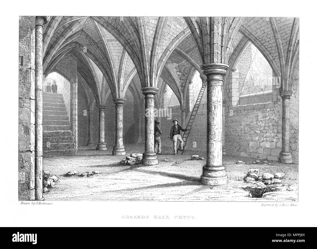 Gerards Hall Crypt.Guildhall London, 1886. Artist: John Henry Le Keux. - Stock Image