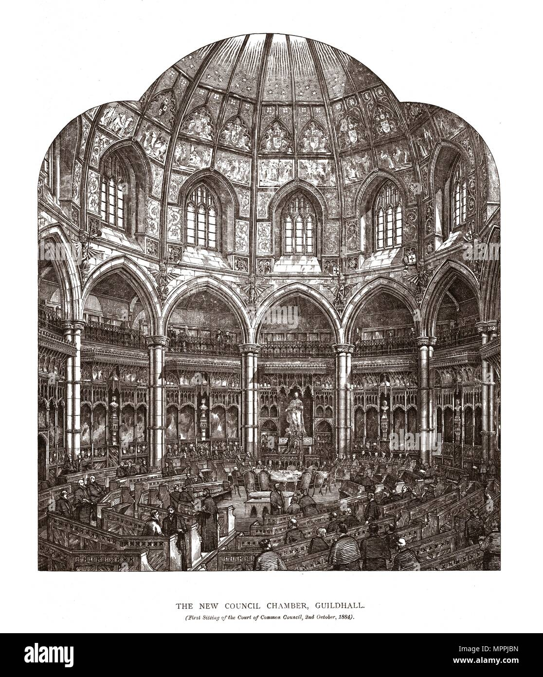 The New Council Chamber Guildhall, 1884, (1886). Artist: Horace Jones. - Stock Image