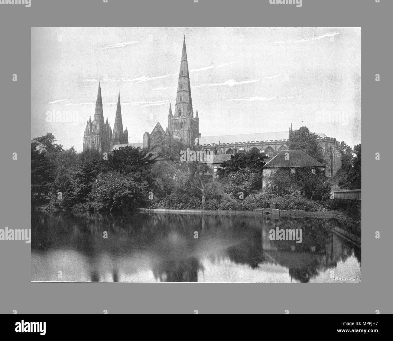 Lichfield Cathedral, c1900. Artist: Valentine & Sons. - Stock Image
