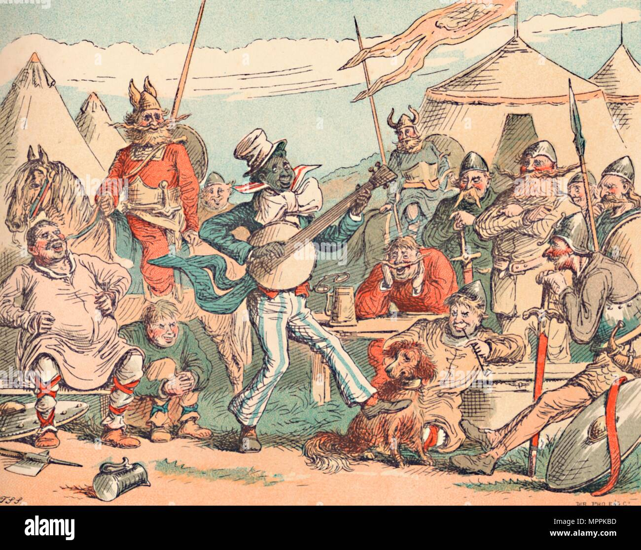 'King Alfred in the Danish Camp', c1884. Artist: Thomas Strong Seccombe. - Stock Image