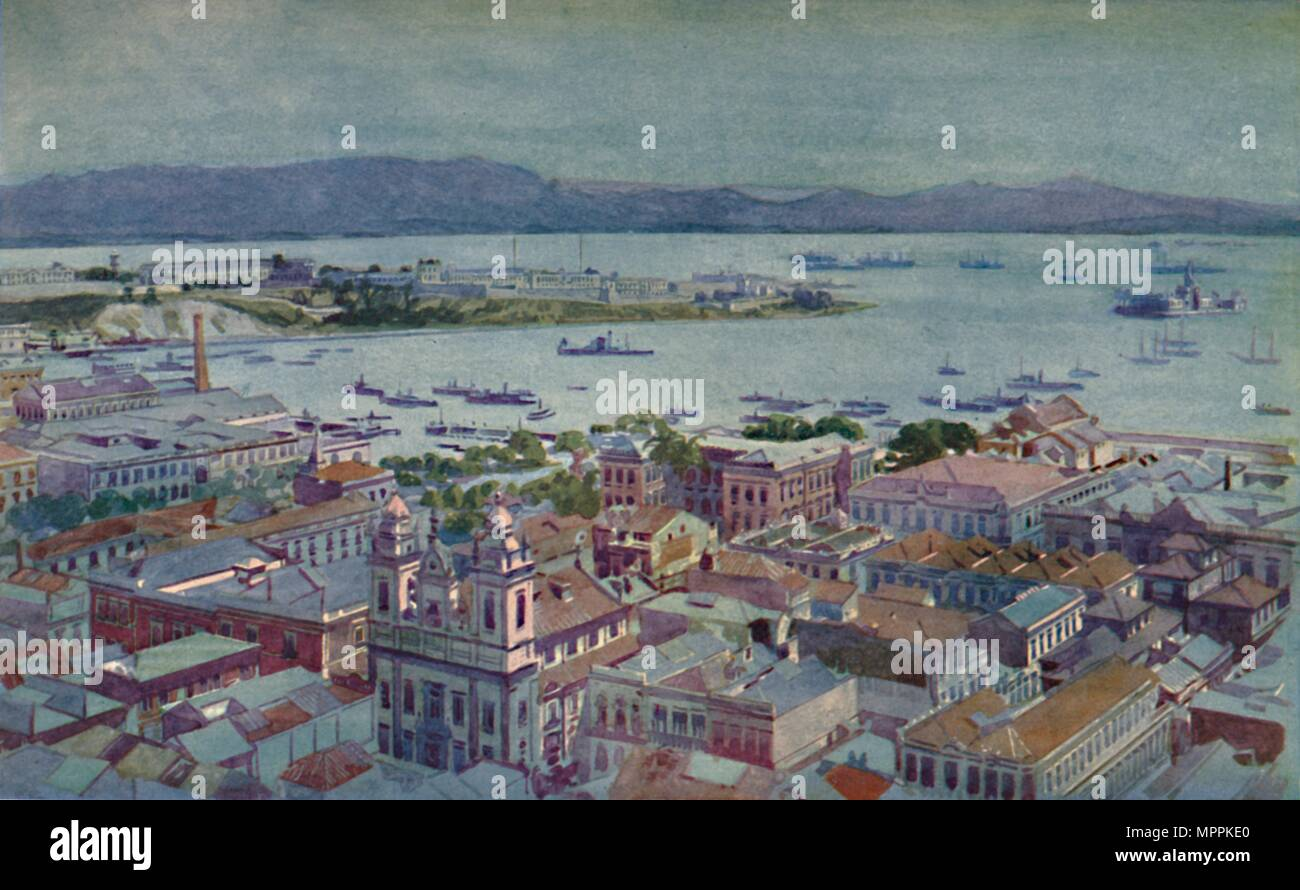 'A bit of Rio with the Ilha das Cobras and the Ilha Fiscal', 1914. Artist: Unknown. - Stock Image