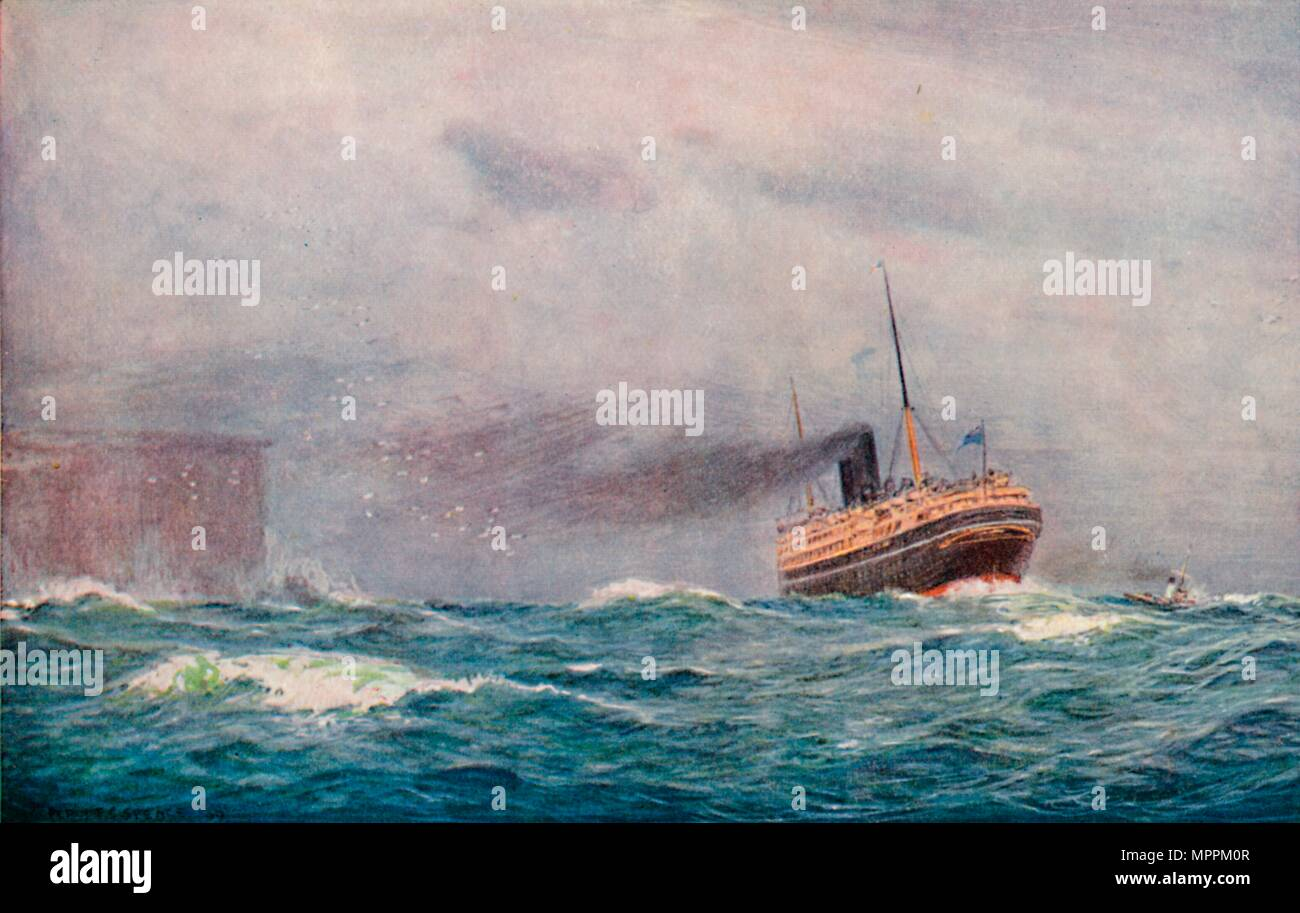 'A P. & O. Steamer Outward Bound', 1913. Artist: Percy Frederick Seaton Spence. - Stock Image