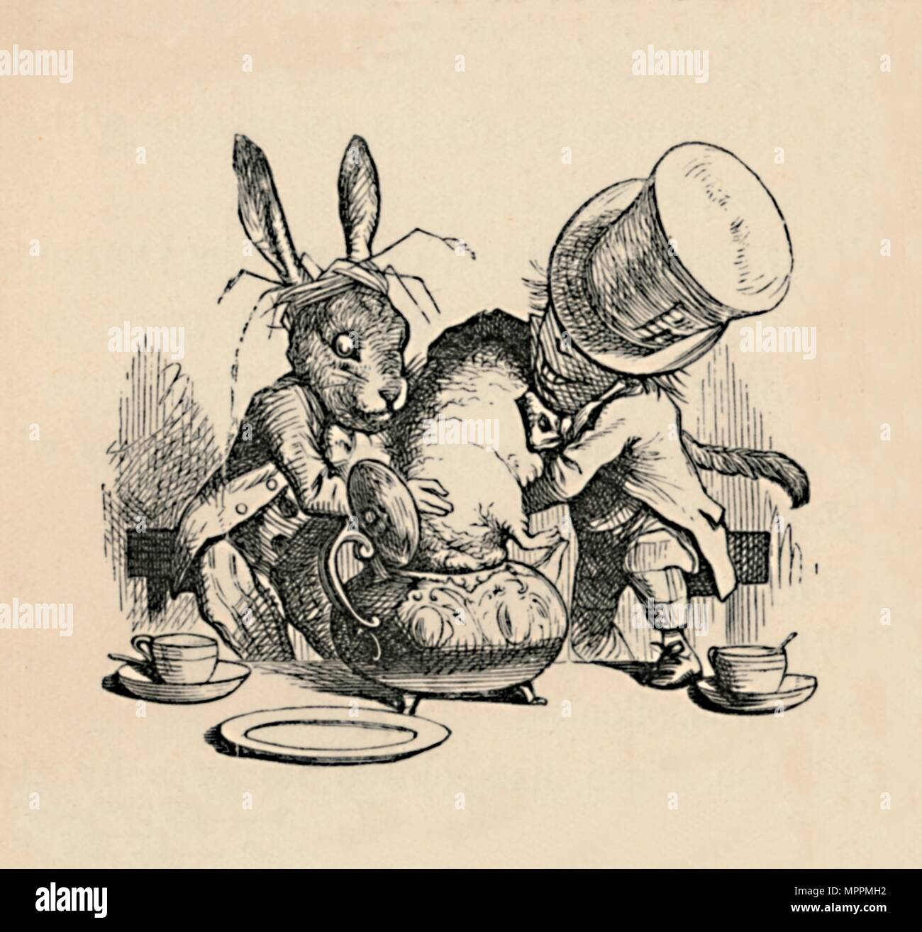'The Mad Hatter and March hare trying to put the Dormouse into a teapot', 1889. Artist: John Tenniel. - Stock Image