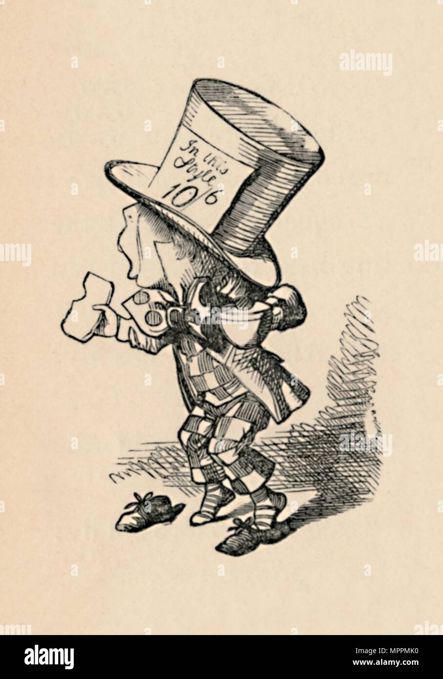 'The Mad Hatter in Court', 1889. Artist: John Tenniel. - Stock Image
