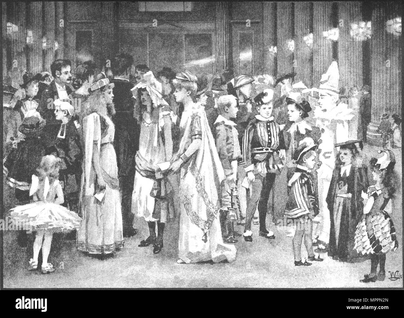 'Juvenile Ball at the Mansion House - Between the Dances', 1891. Artist: William Luker. - Stock Image