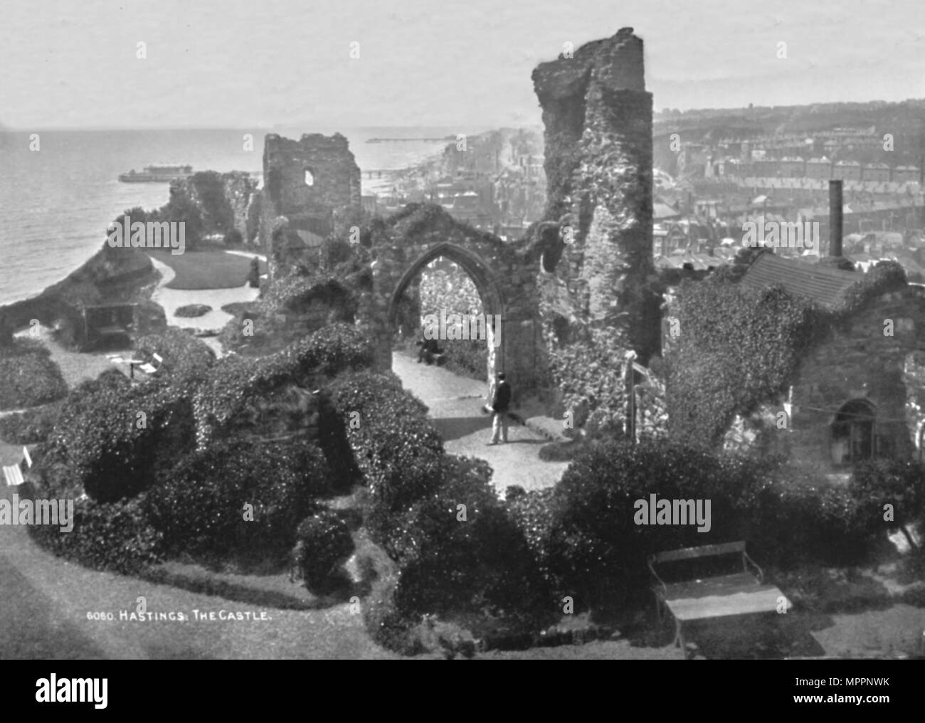 'Hastings. The Castle', 1907. Artist: Photochrom Co Ltd of London. - Stock Image
