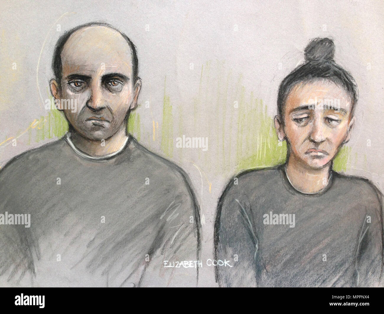 File court artist sketch dated 26/09/17 by Elizabeth Cook of Ouissem Medouni (left), 40, and his partner Sabrina Kouider, 34, who have been found guilty at the Old Bailey, London of murdering their French nanny Sophie Lionnet. - Stock Image