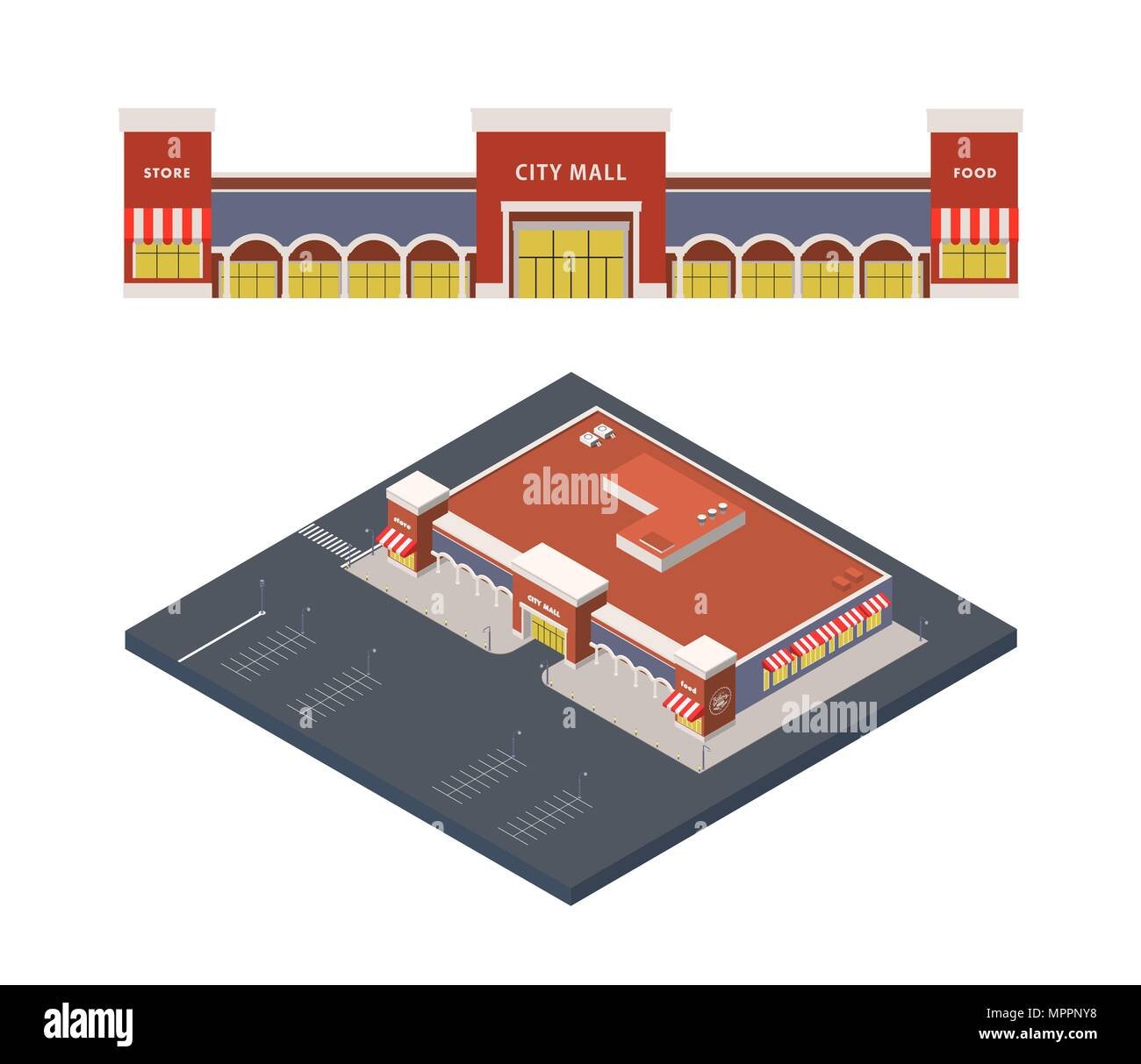 Vector Isometric illustration of shopping centre, city mall with parking lot - Stock Image