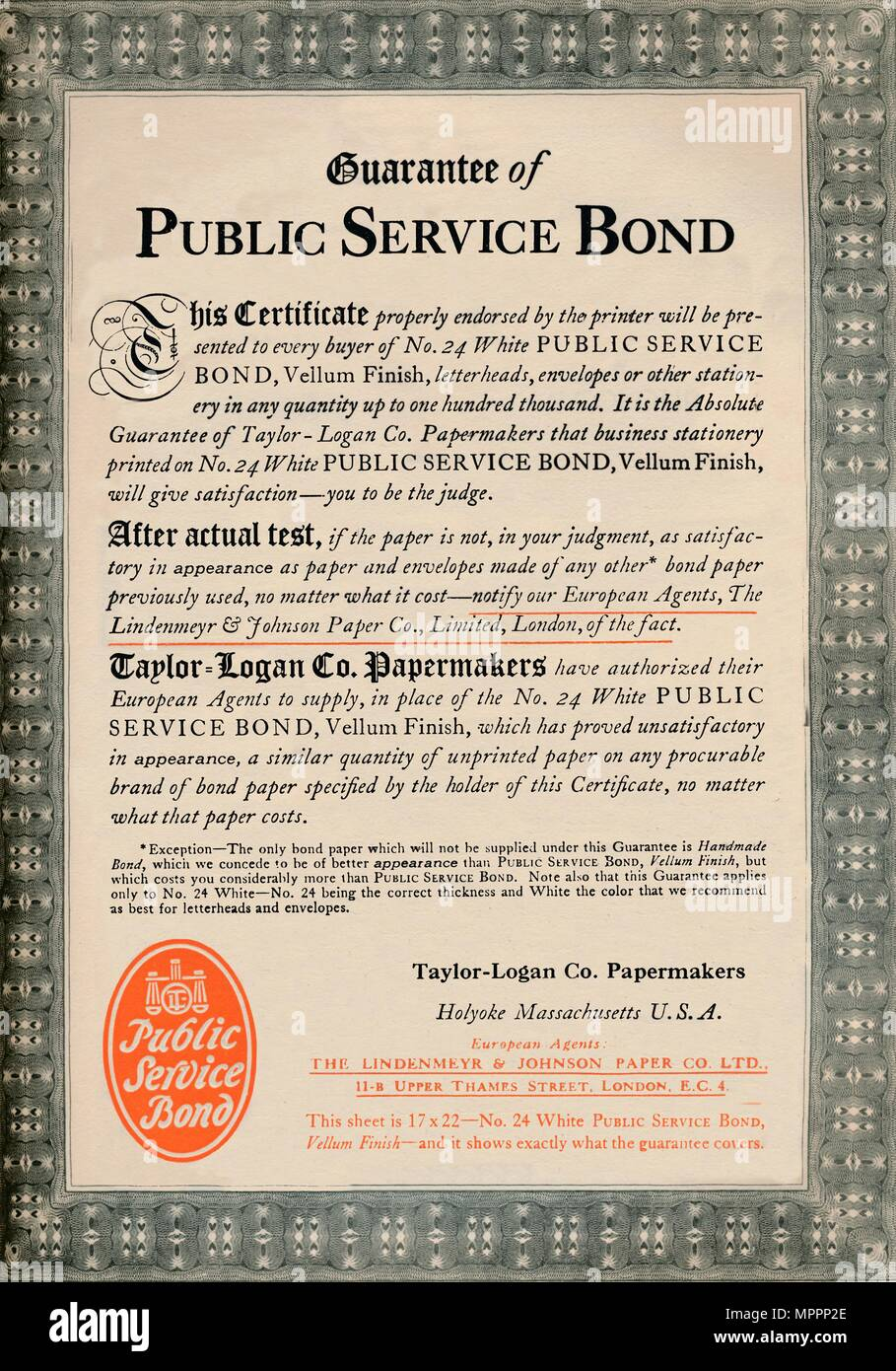 'Guarantee of Public Service Bond - Taylor-Logan Co. Papermakers advert', 1919. Artist: Unknown. - Stock Image