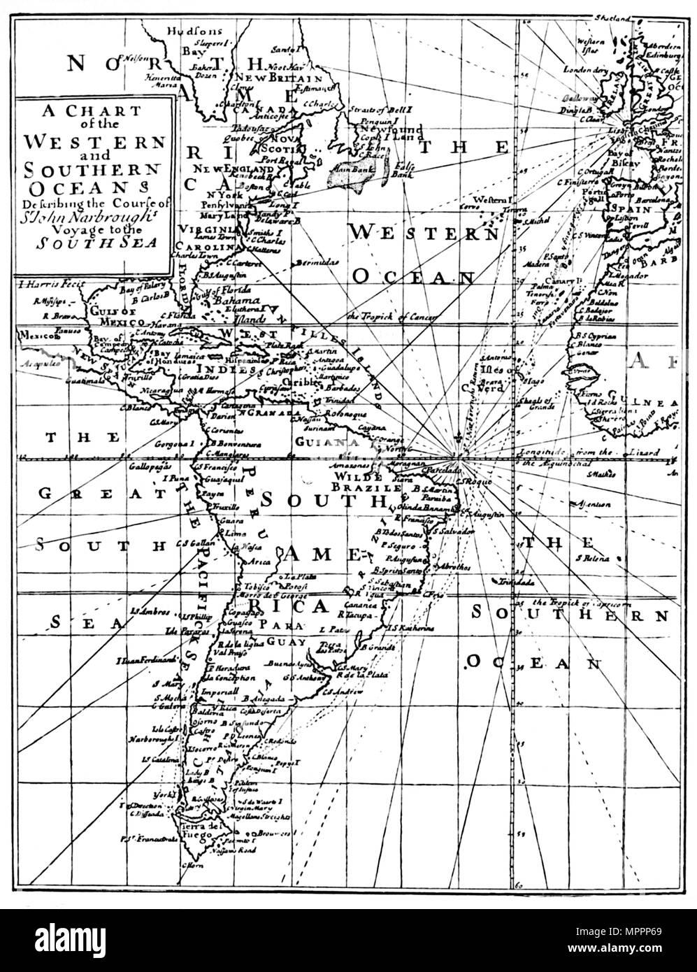 'Sir John Narbrough's Voyage', c1670, (1903). Artist: Unknown. - Stock Image