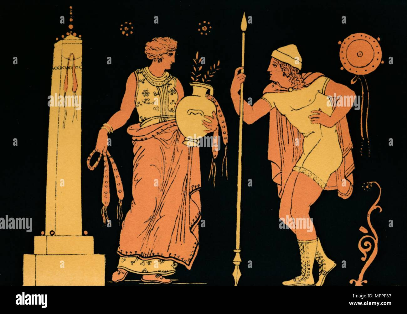 'Electra and Orestes', 1880. Artist: Antique. - Stock Image