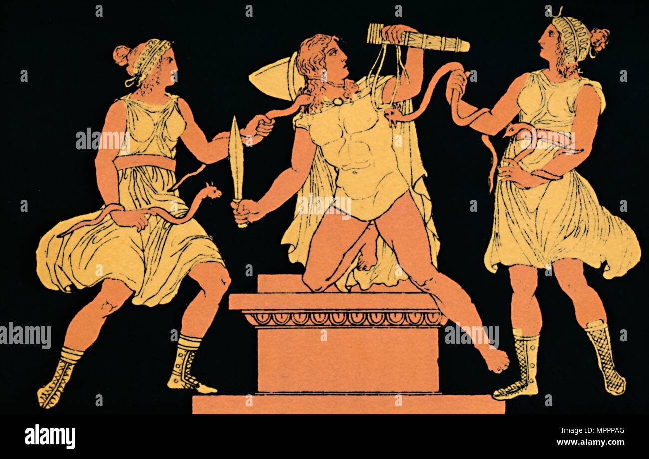 'Orestes Pursued by Furies', 1880.  Artist: Antique. - Stock Image