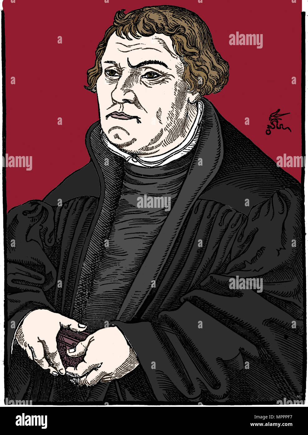 Martin Luther German Protestant reformer, 1546. Artist: Unknown. - Stock Image