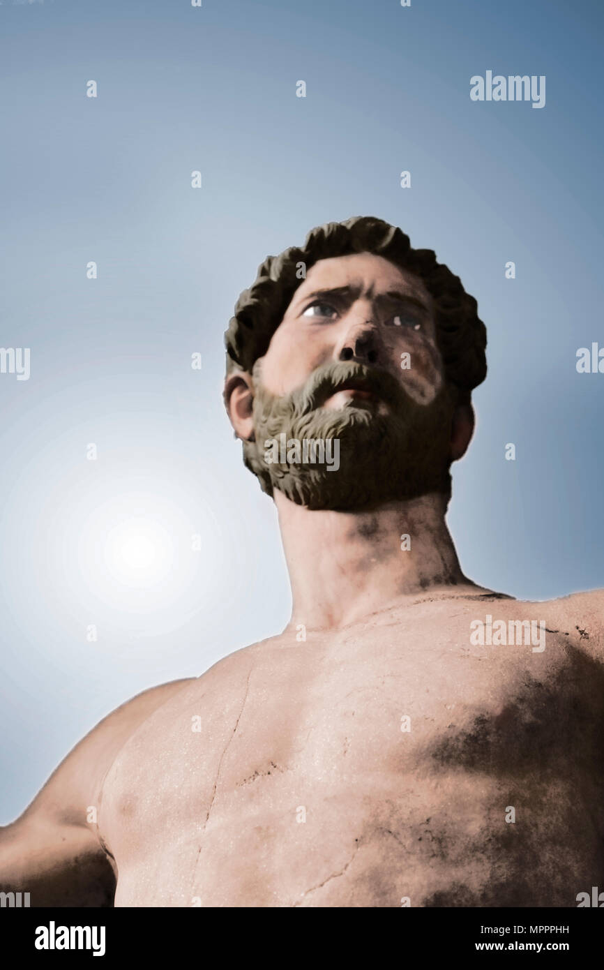 Statue of the Roman Emperor Hadrian, first half of 2nd century. Artist: Unknown. - Stock Image