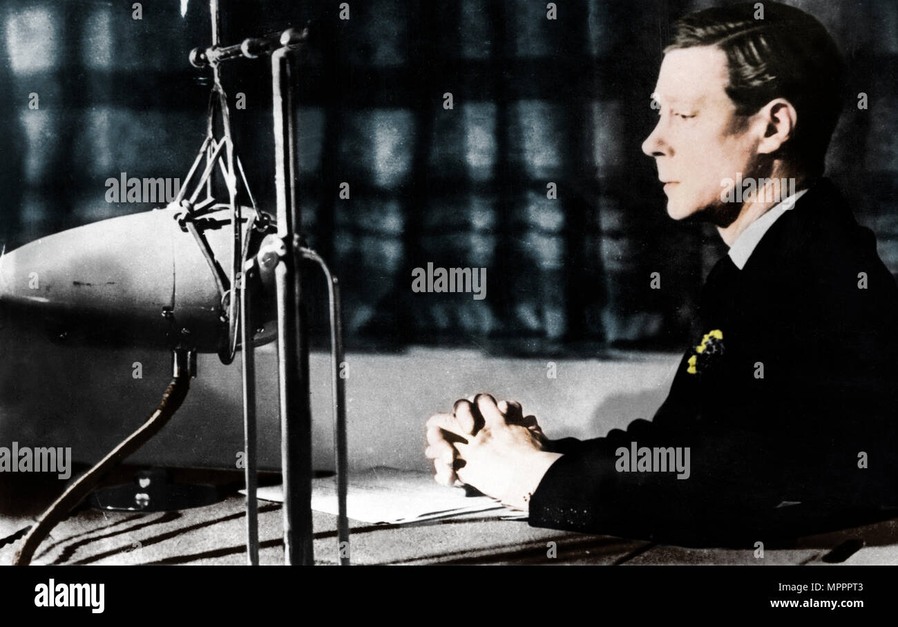 Edward VIII giving his abdication broadcast to the nation and the Empire, 11th December 1936.   Artist: Unknown. - Stock Image