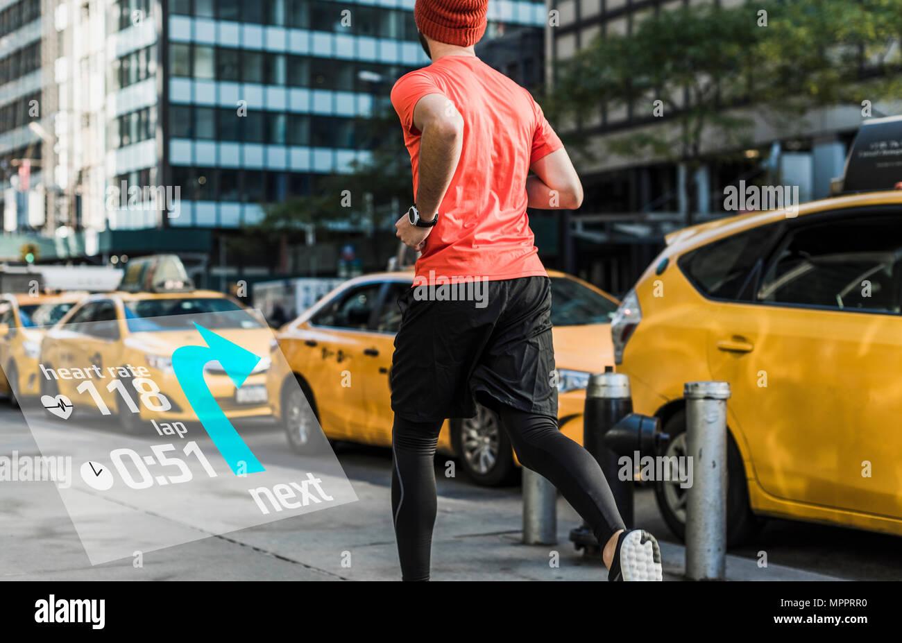 USA, New York City, man running in the city with data around him - Stock Image