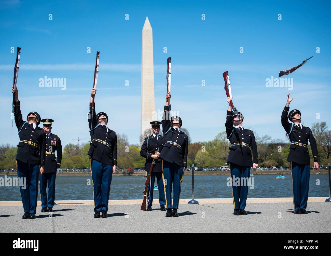 The U.S. Army Drill Team from 3d U.S. Infantry Regiment (The Old Guard), and teams from the other four major military services, came together to perform during the 2017 Joint Service Drill Exhibition at the Jefferson Memorial, Washington, D.C., April 8, 2017. This exhibition is one of only a few opportunities to see the service drill teams in the same place at the same time. (U.S. Army photos by Staff Sgt. Terrance D. Rhodes) - Stock Image