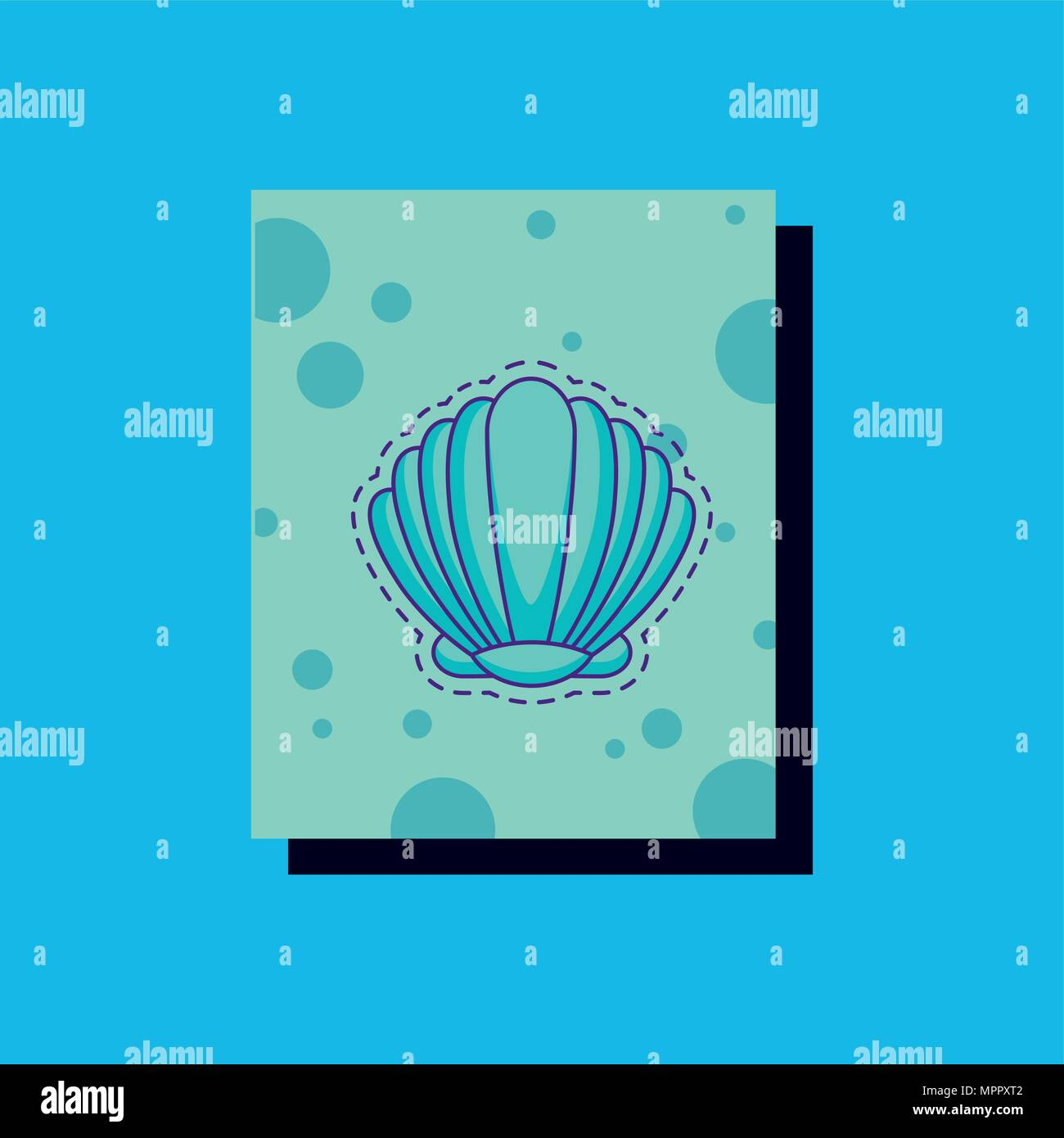 seashell icon over blue background, colorful design. vector illustration - Stock Vector