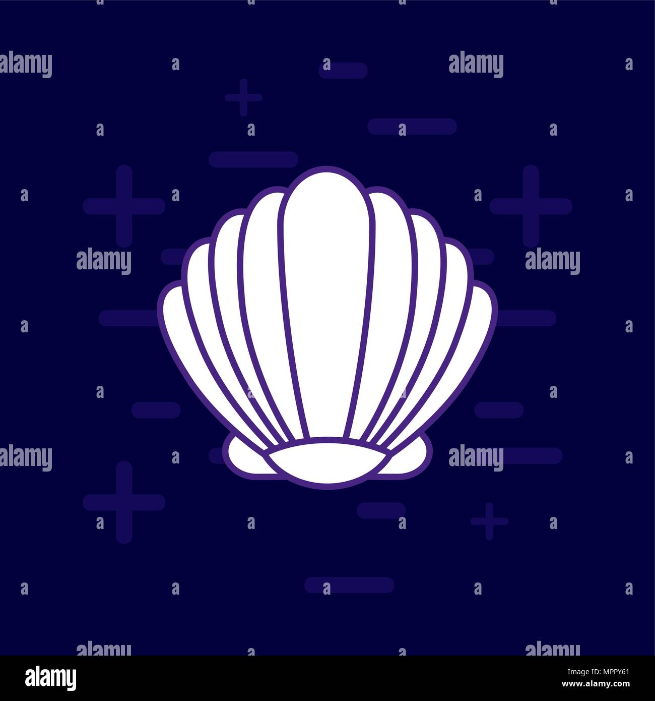 seashell icon over purple background, colorful line design. vector illustration - Stock Vector