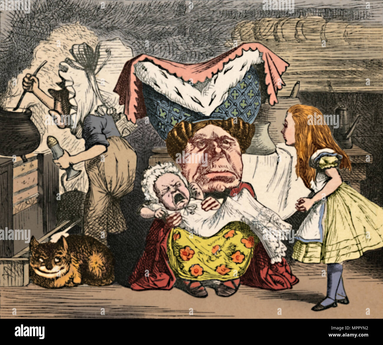 'Alice, the Duchess, and the Baby', 1889. Artist: John Tenniel. - Stock Image