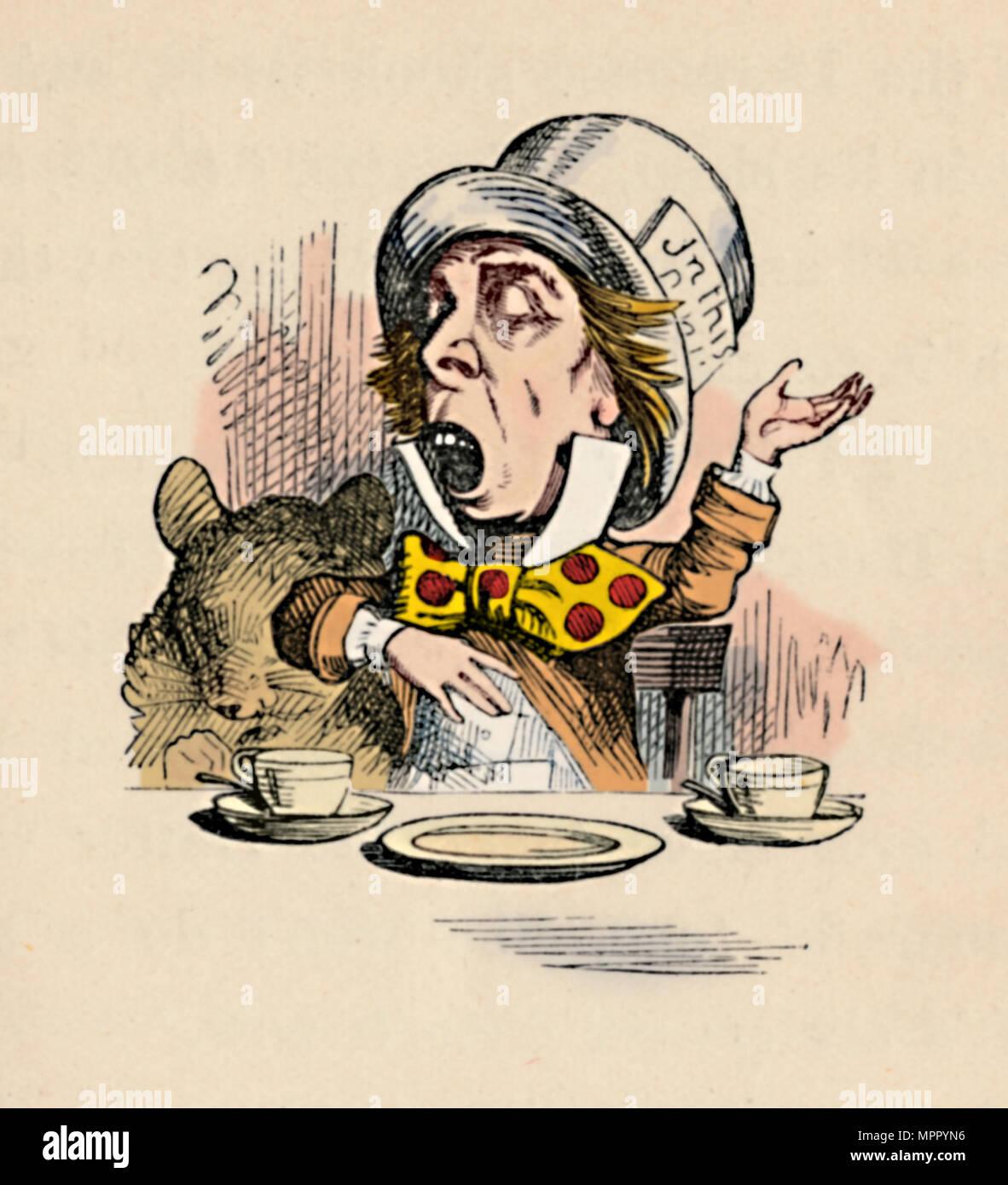 'The Mad Hatter', 1889. Artist: John Tenniel. - Stock Image