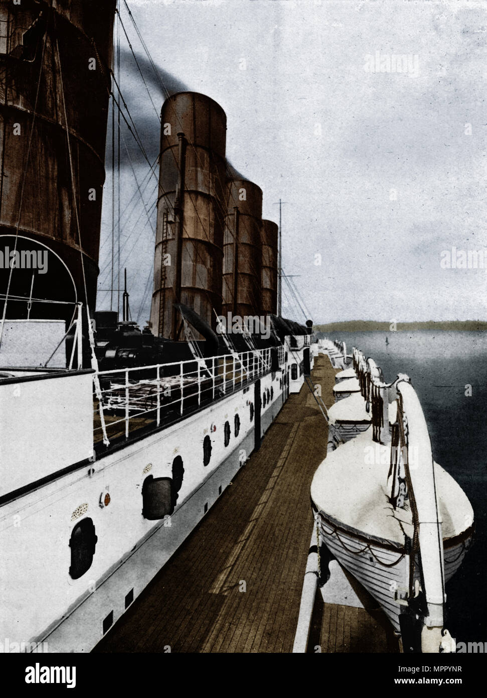 'The boat deck of the Lusitania, showing lifeboats', 1915. Artist: Unknown. - Stock Image