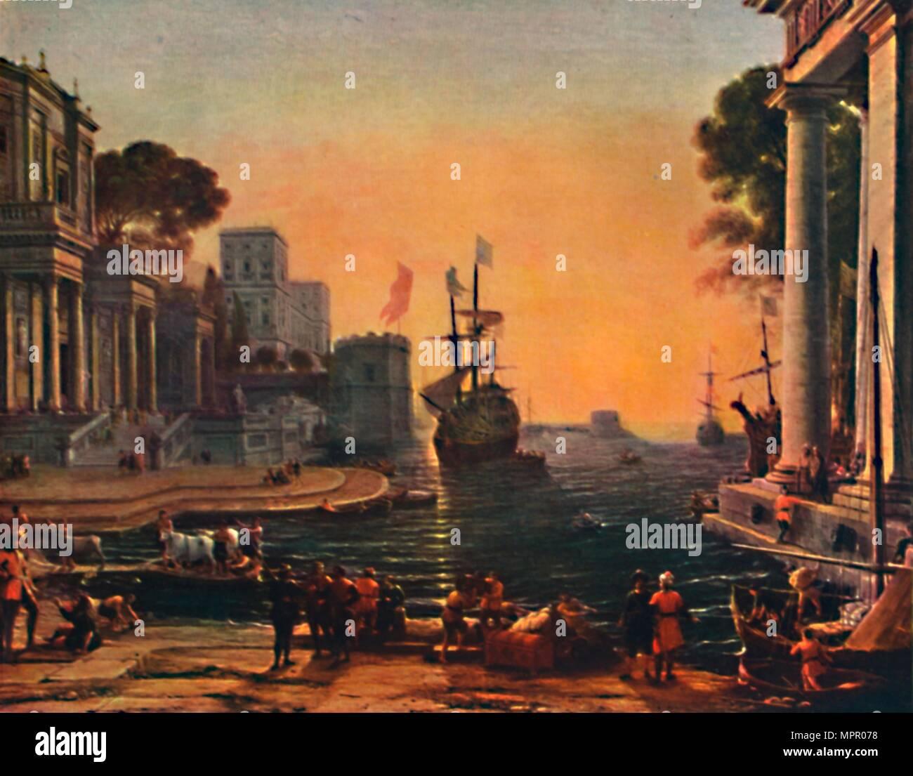 'A Seaport (Vue d'un Port de Mer: Effet de Brume)', 17th century, (1911). Artist: Claude Lorrain. - Stock Image