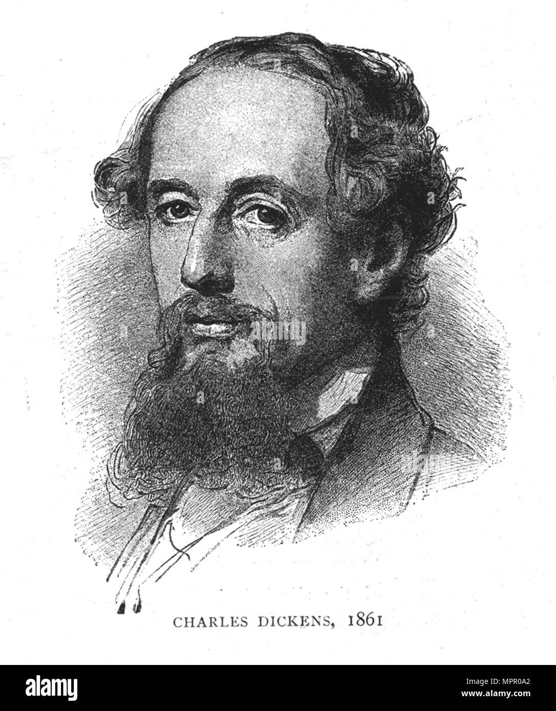 Charles Dickens, 1861. Artist: Wilhelm Auguste Rudolf Lehmann. - Stock Image