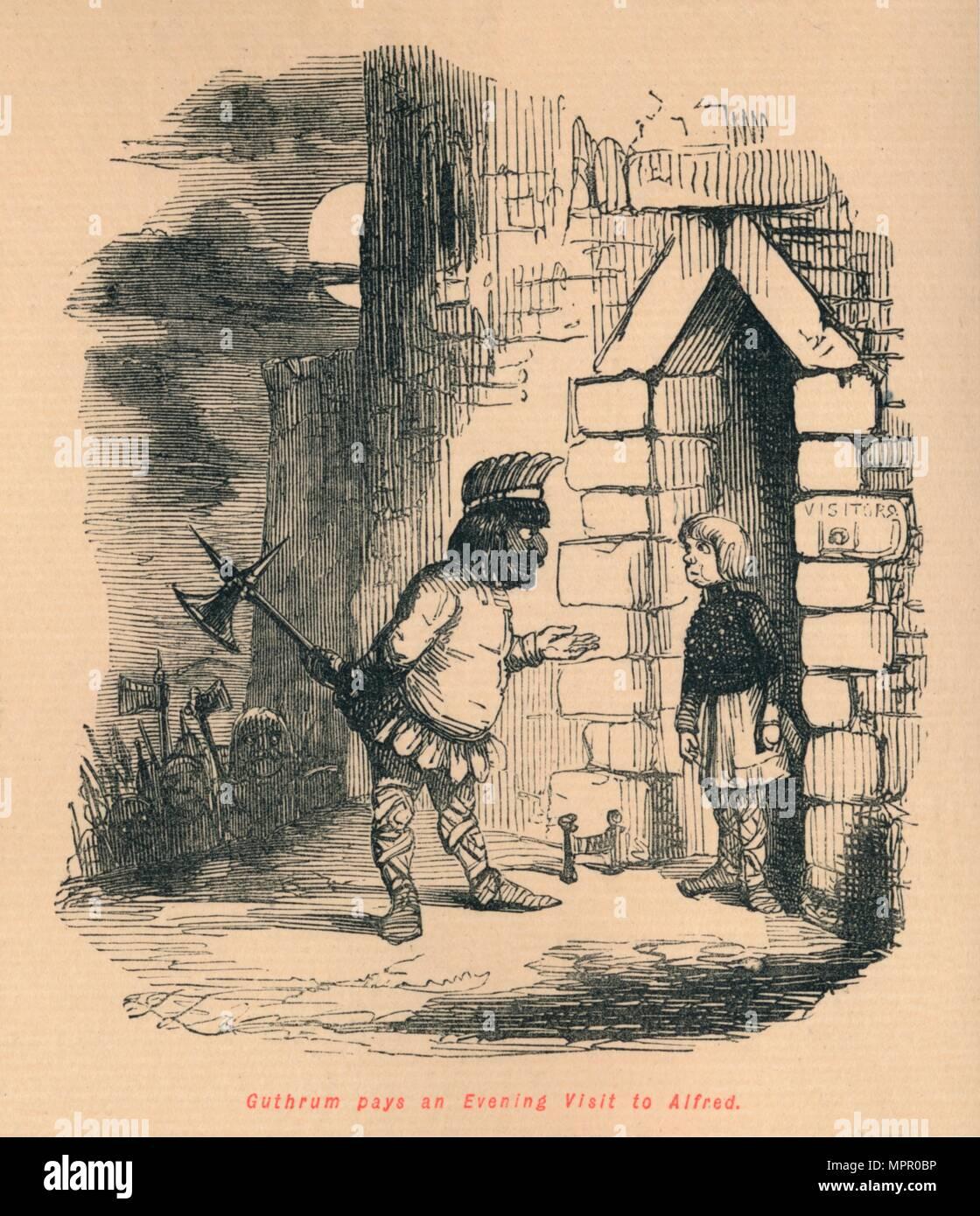 'Guthrum pays an Evening Visit to Alfred', c1860, (c1860).  Artist: John Leech. - Stock Image