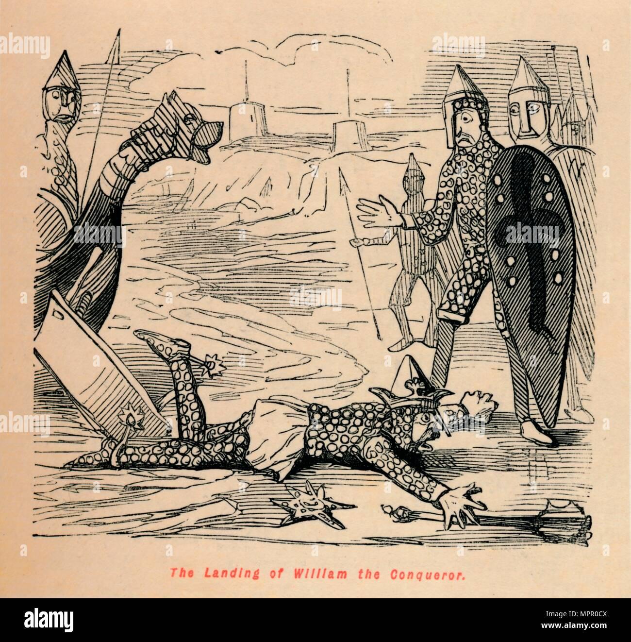 'The Landing of William the Conqueror', c1860, (c1860). Artist: John Leech. - Stock Image