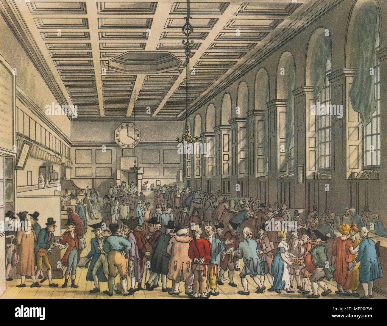 Interior of Custom House, London, 1808. Artists: Augustus Charles Pugin, Thomas Rowlandson. - Stock Image