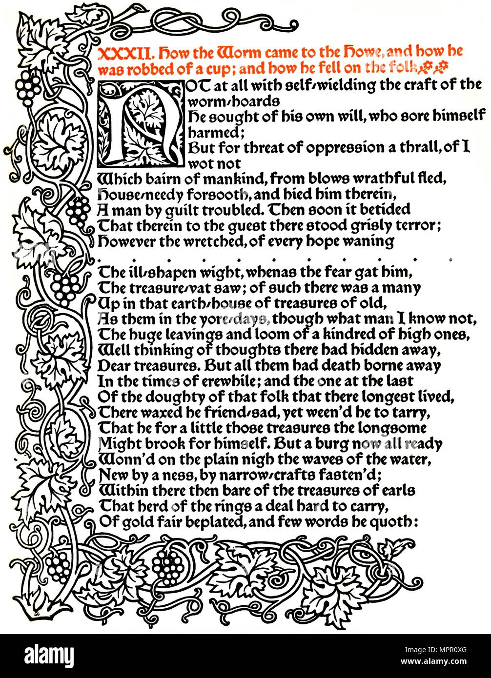 'Kelmscott Press: Page from The Tale of Beowulf Printed in the Troy Type', c.1895, (1914).  Artist: William Morris. - Stock Image