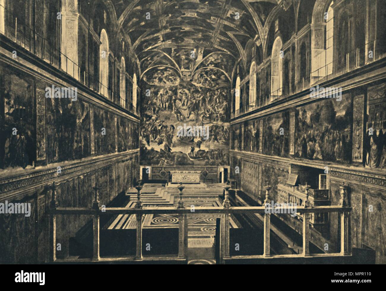 'Roma - Vatican Palace - The Sistine Chapel, fonded by Sixtus IV in 1483', 1910. Artist: Unknown. - Stock Image