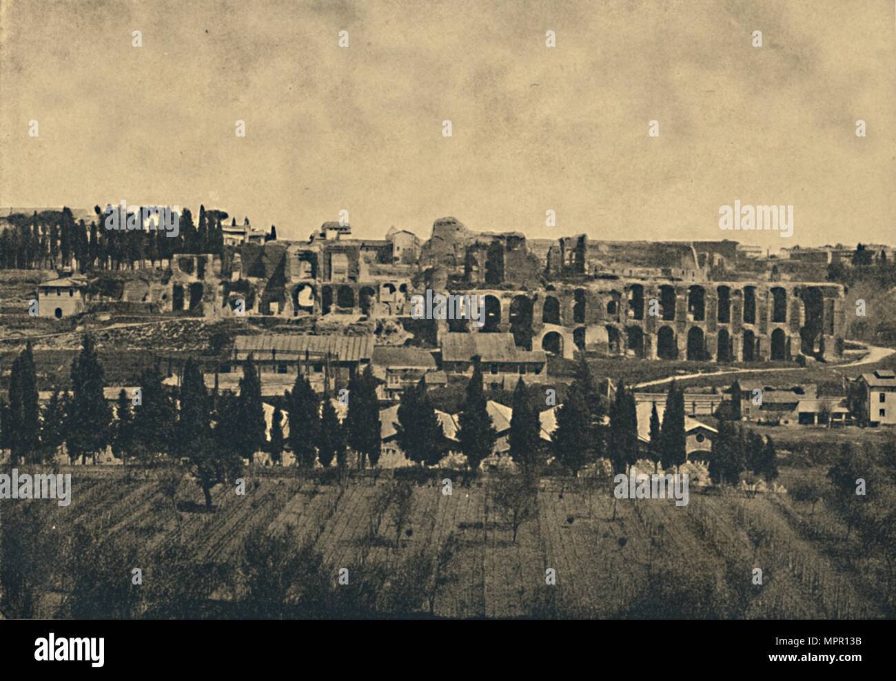 'Roma - Grand remains of the substructures of the palace of Septimius Severus', 1910.  Artist: Unknown. - Stock Image