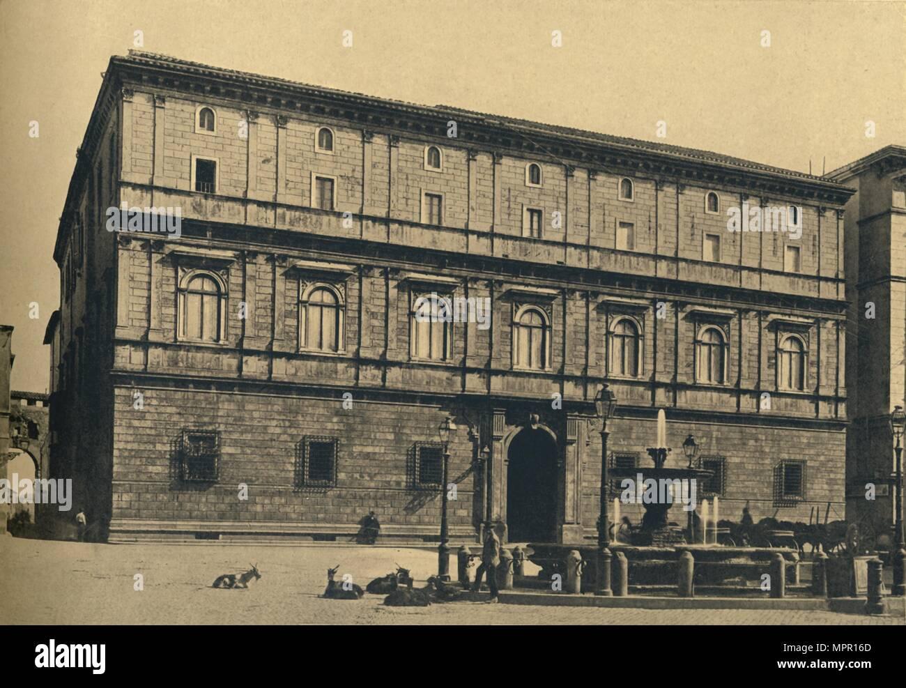 'Roma - Piazza Scossacavalli. - Palace of Prince Torlonia, by Bramante', 1910. Artist: Unknown. - Stock Image