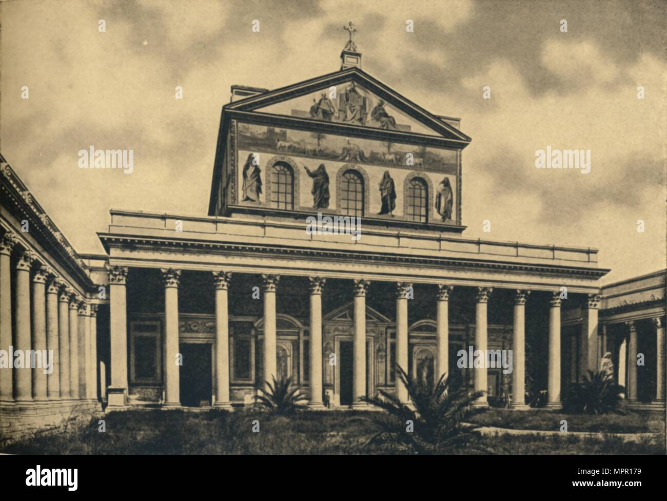 'Roma - Principal facade of the Basilica of St. Paul without the walls', 1910.  Artist: Unknown. - Stock Image