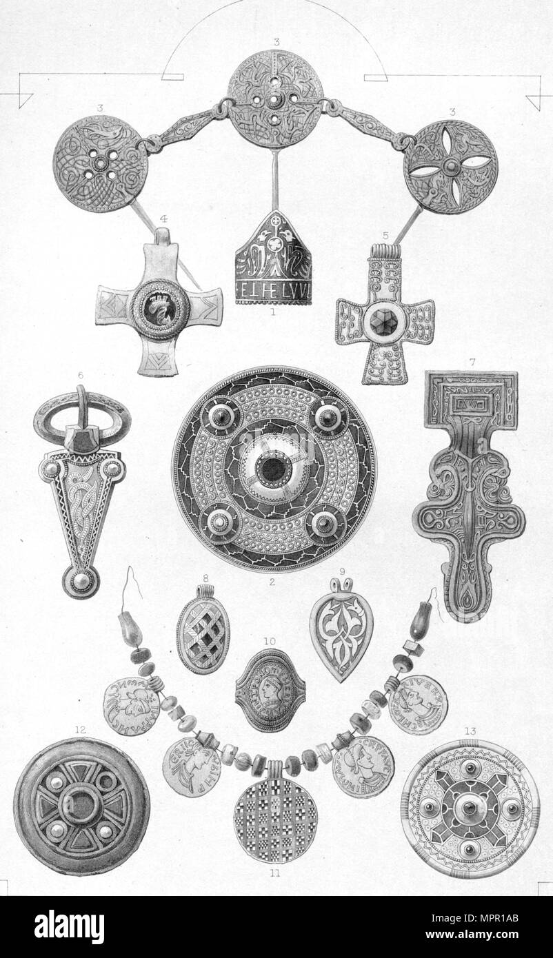 'Anglo-Saxon Relics. Personal Ornaments of Gold and Bronze', 1886. Artist: Robert Anderson. - Stock Image