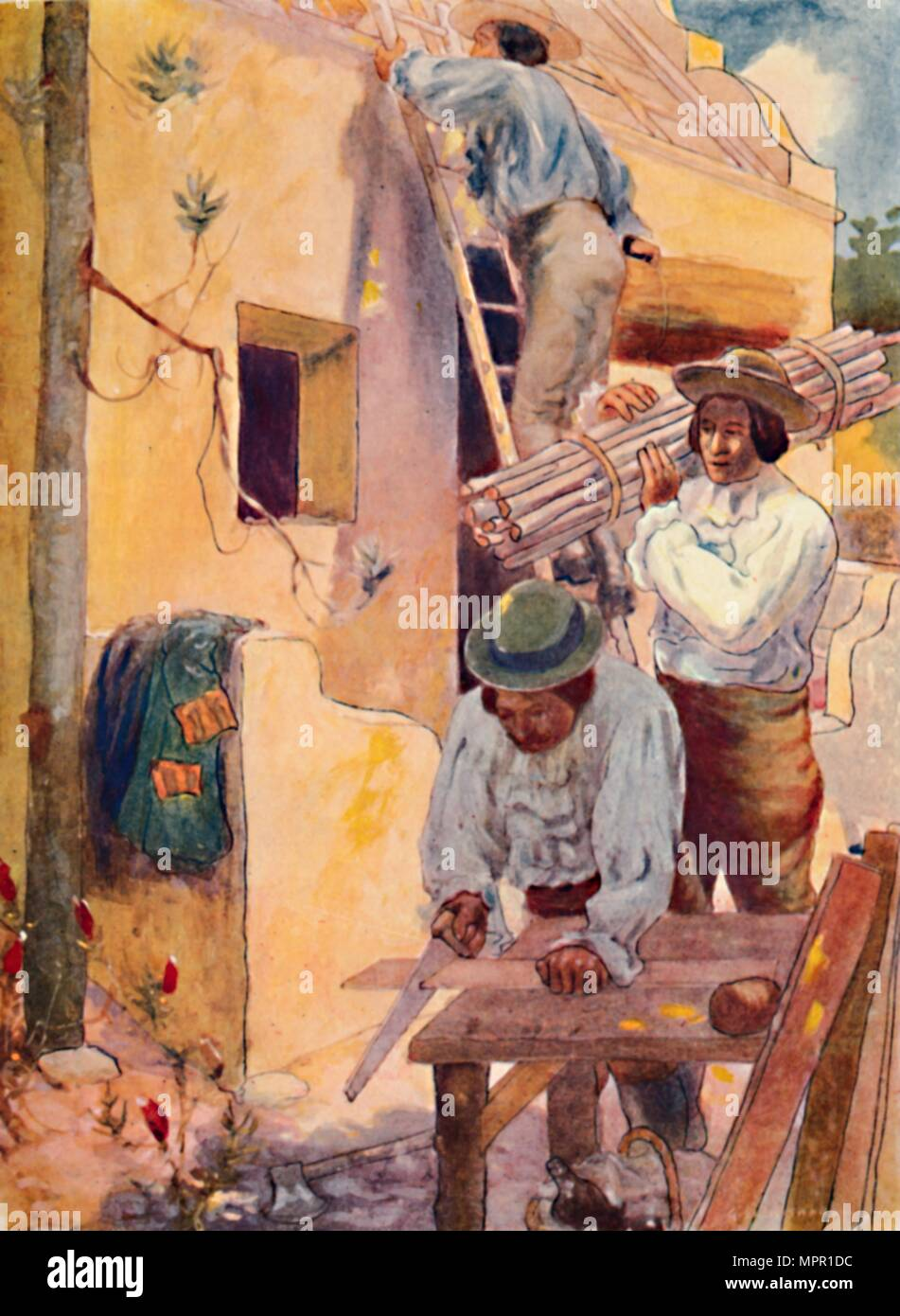 'Huguenots Building their Homesteads', 1909. Artist: GS Smithard. - Stock Image