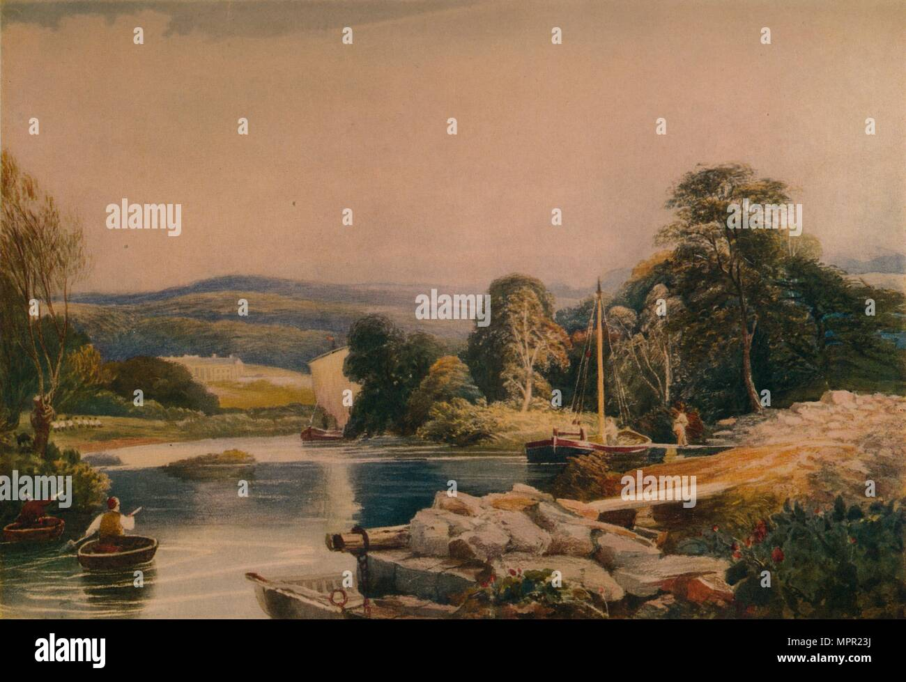 'On the Teify, Cardiganshire',19th century, (1935). Artist: Peter de Wint. - Stock Image