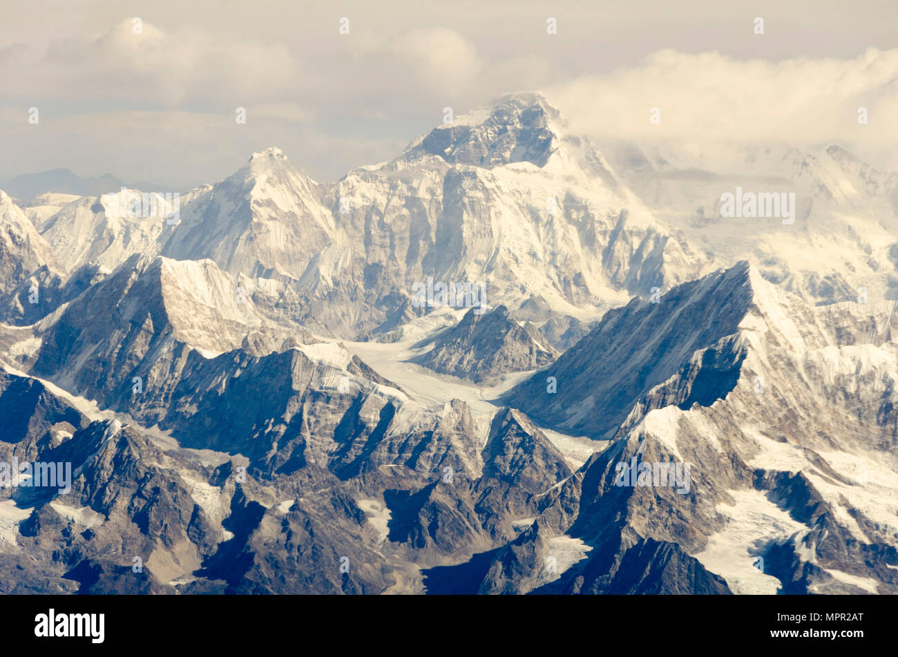 Snow capped mountains, Mount Everest, highest mountain in the world, Himalayas, Nepal Stock Photo