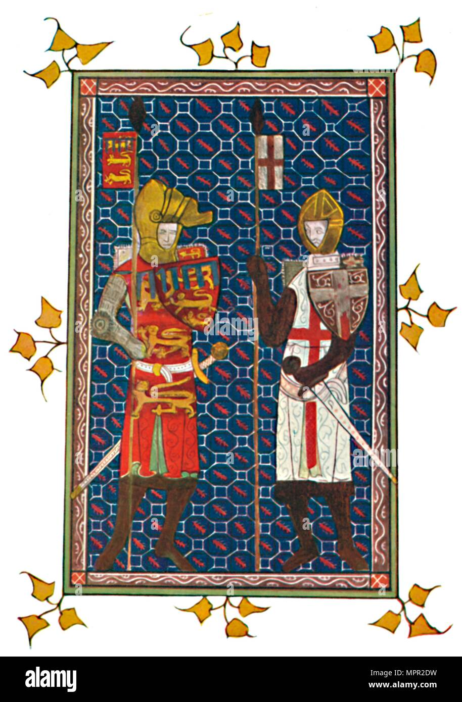 'St. George and Plantagenet Earl of Lancaster', c1295, (1903). Artist: Unknown. - Stock Image