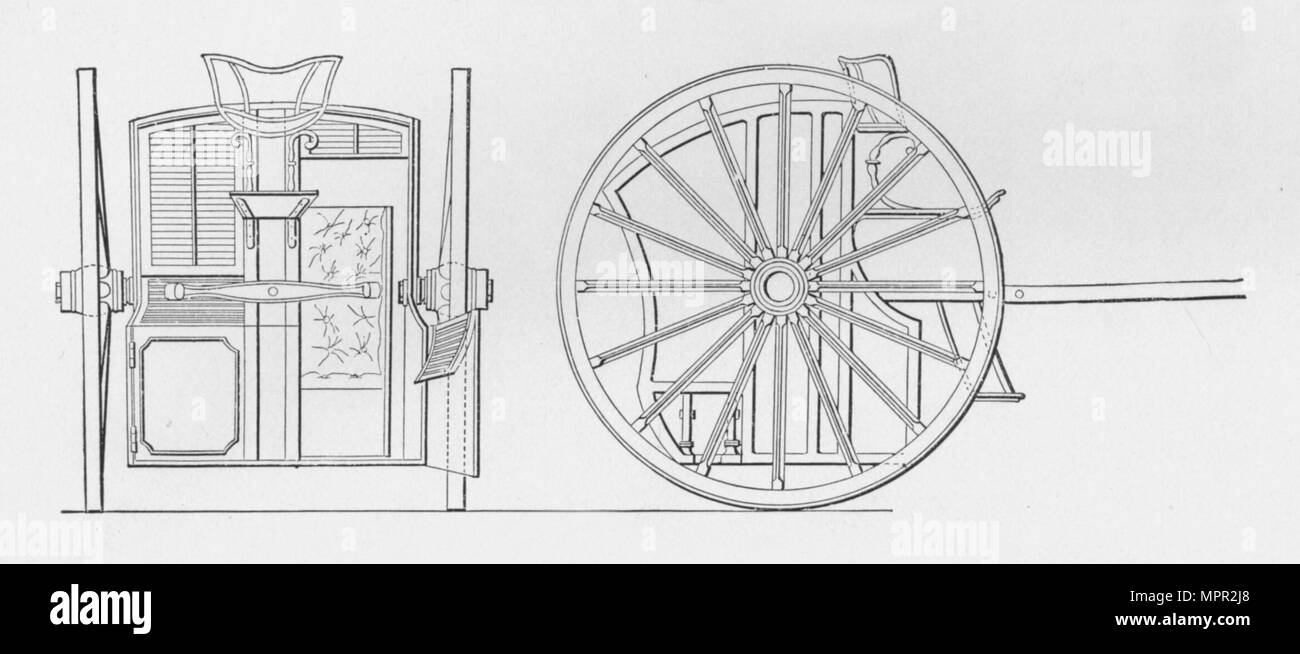 'Specification Drawings for Hansom's Cab, 1834', 1834, (1904). Artists: Joseph Hansom, Unknown. - Stock Image