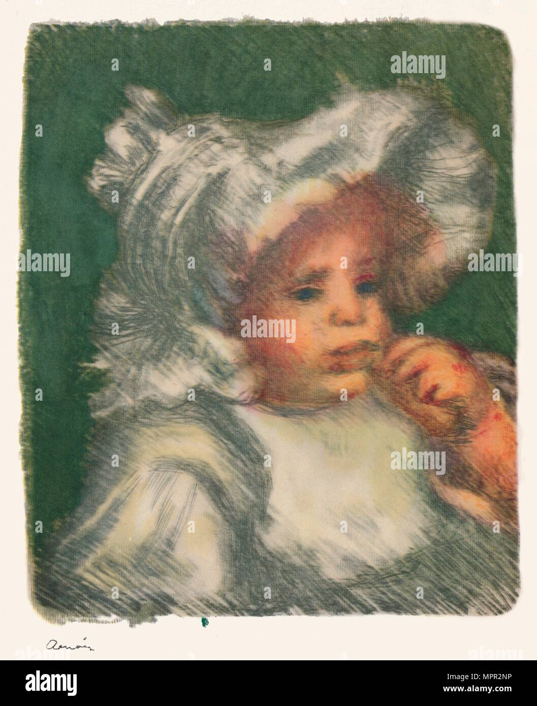 'The Child with the Biscuit', c.1898-1899, (1946). Artist: Pierre-Auguste Renoir. - Stock Image