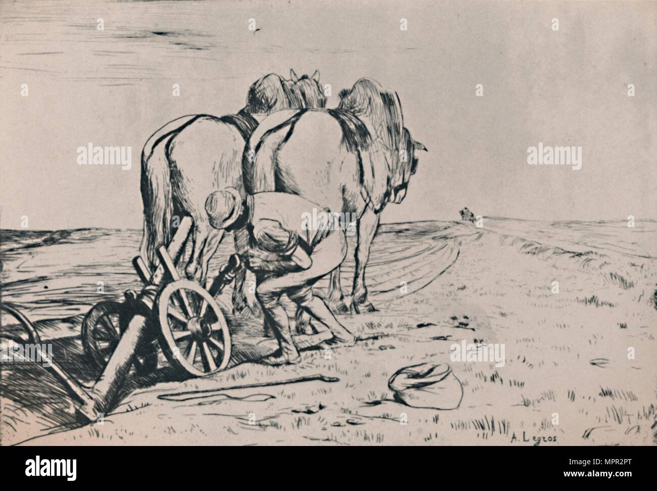 'The Plough', mid-late 19th century, (1946). Artist: Alphonse Legros. - Stock Image