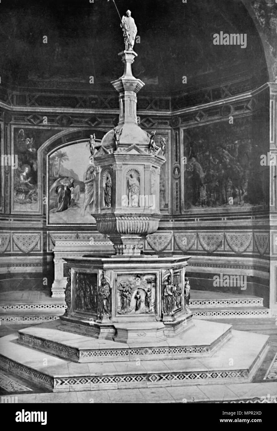 'The Font in the Church of San Giovanni, Siena', 1903. Artist: Unknown. - Stock Image