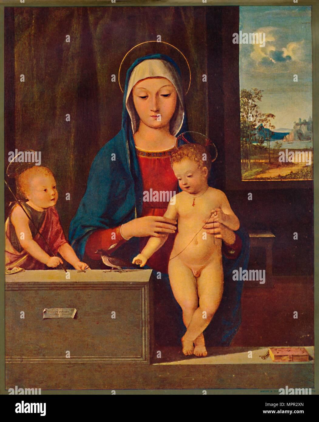 'Madonna and Child with St. John the Baptist', 1903. Artist: Antonio Solario. - Stock Image