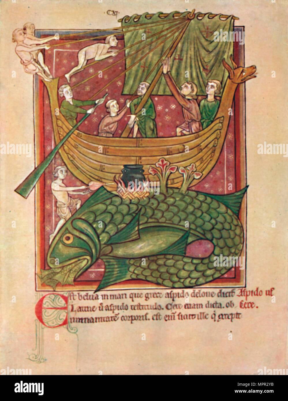 'The Dangers of the Sea (MS. Harl. 4751)', 13th century, (1902). Artist: Unknown. - Stock Image
